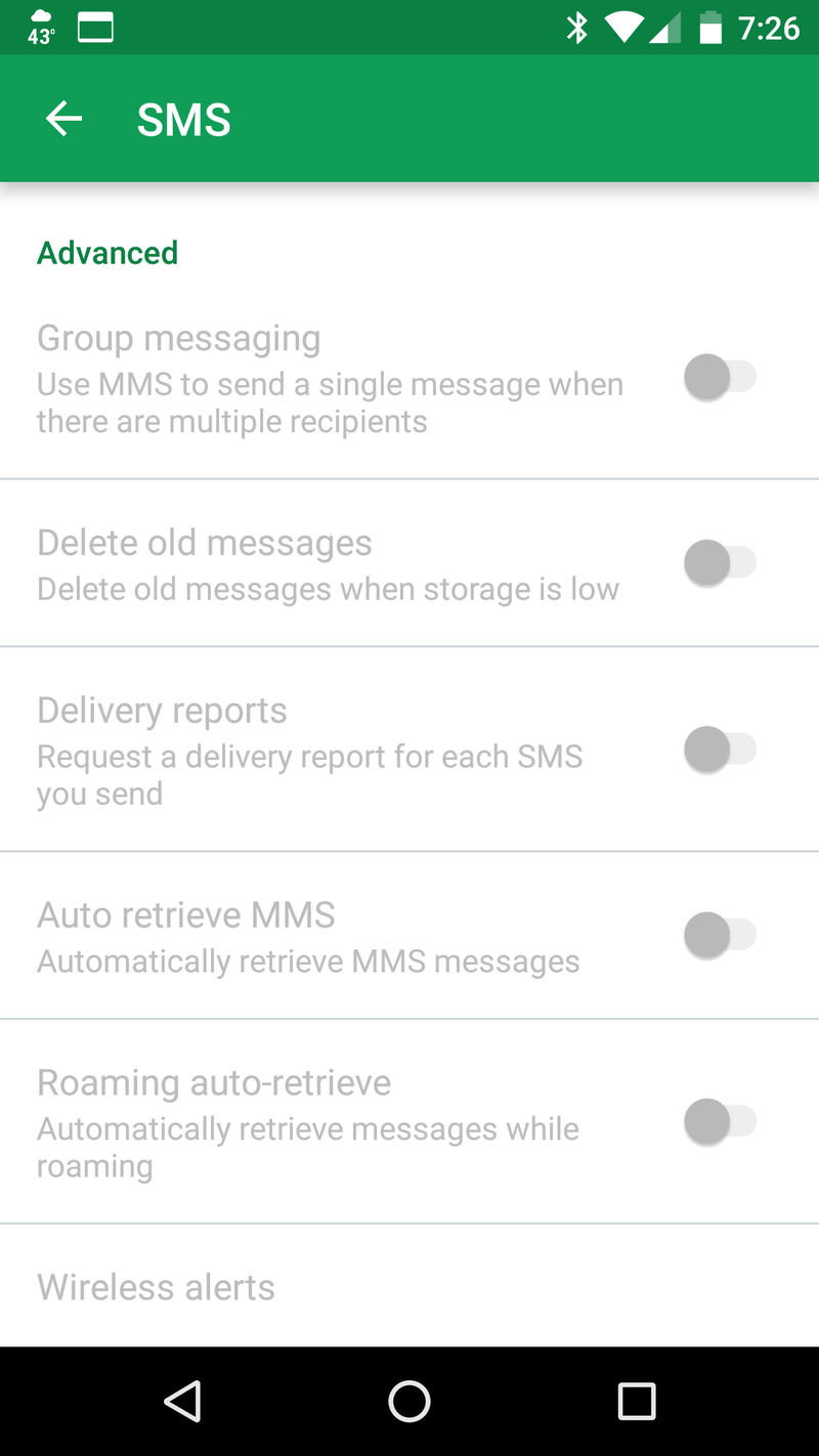 Advanced settings in Google Hangouts showing disabling automatic download of media files