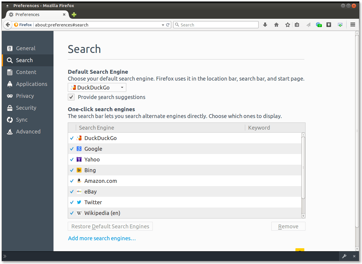 Figure 1.  Default Search Engine Settings in Firefox