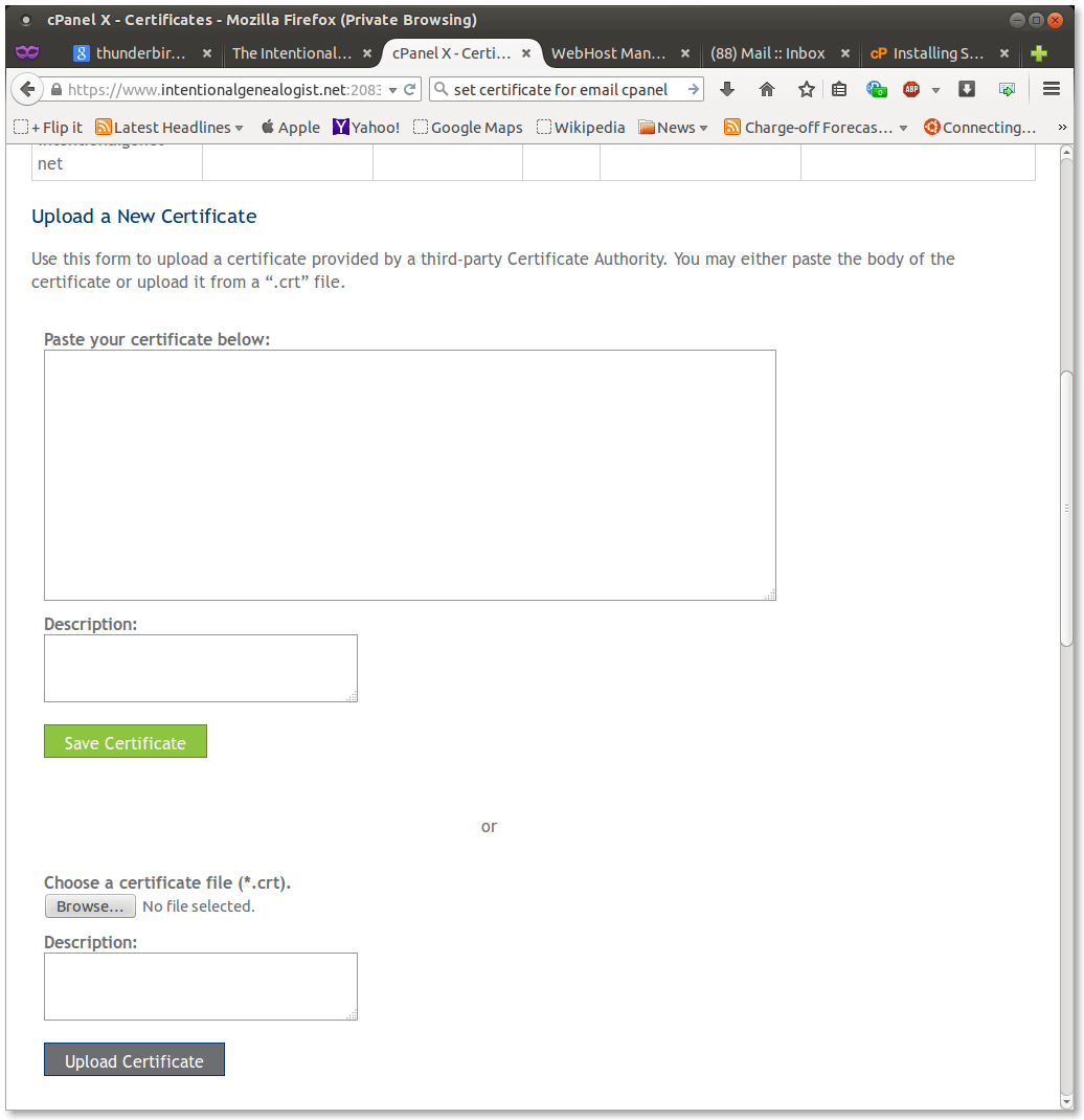 Figure 16.  Using CPanel to install the certificate part 2