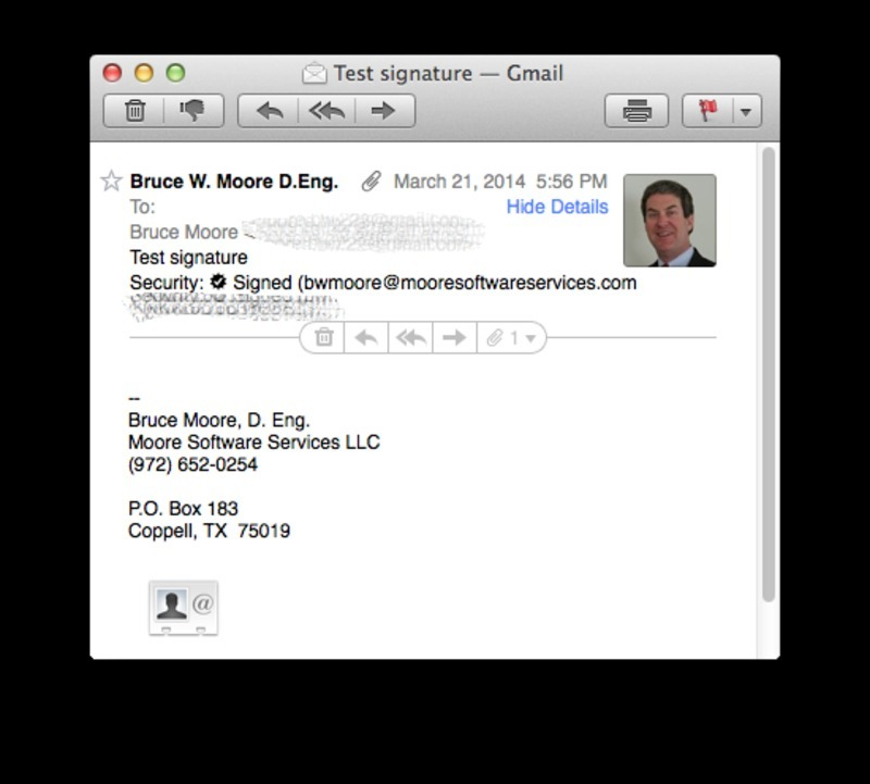 Screen capture of Apple OS X email display after showing details to display S/MIME certificate information.