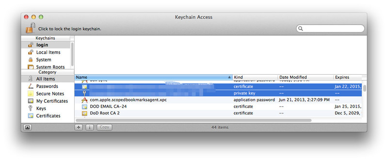 Screen capture of Keychain Access program and certificate backup option on OS X operating system