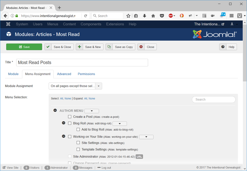 Figure 5. Remove Joomla modules to the left and right of the report to increase the column width.