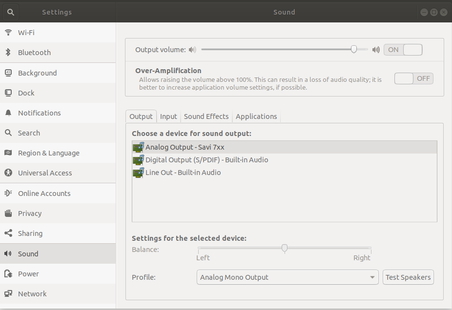 Change the sound device for Firefox on Ubuntu using System Settings