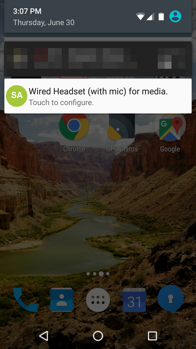 Nexus 5 running Android 6.0.1 showing a recurring notification from Soundabout