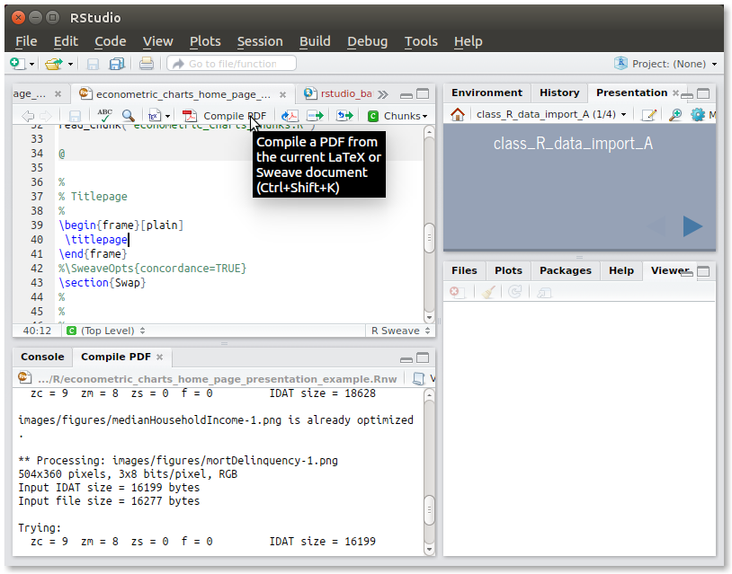 Running knitr in RStudio to generate a PDF file from the Rnw source file