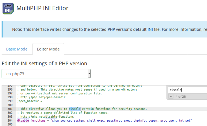 Make sure to directly edit the php.ini file to disable functions with security problems.