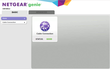 Netgear CM1000 status page showing good cable connection